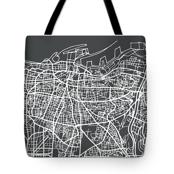 Beirut Lebanon City Map In Retro Style. Tote Bag