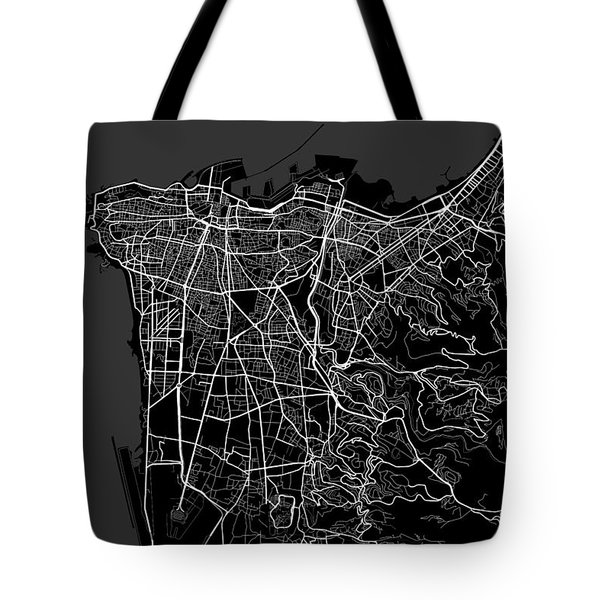 Beirut Lebanon Dark Map Tote Bag