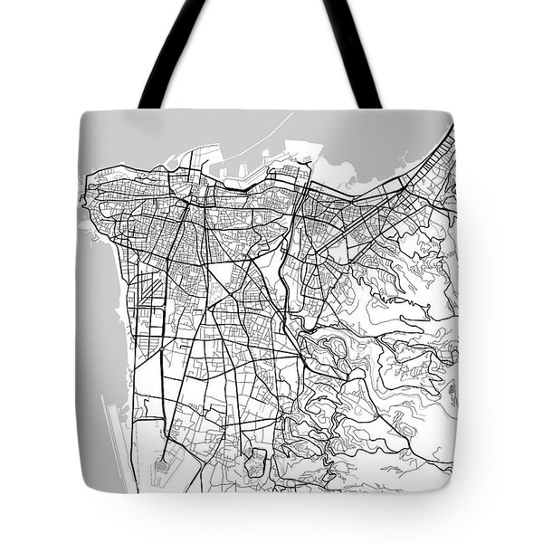Beirut Lebanon Light Map Tote Bag