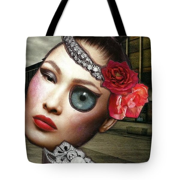 Mixed Media Collage Bejeweled Pigeon Lady Tote Bag
