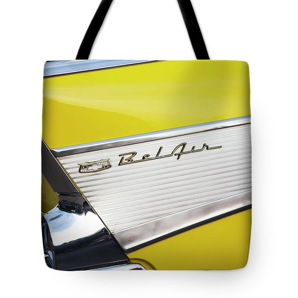 Tote Bag featuring the photograph Bel Air Tail Fin by Toni Hopper
