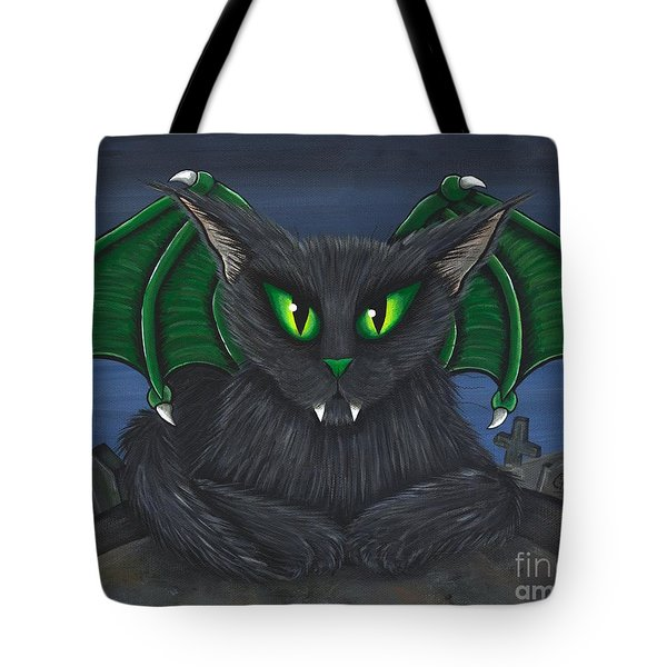 Tote Bag featuring the painting Bela Vampire Cat by Carrie Hawks