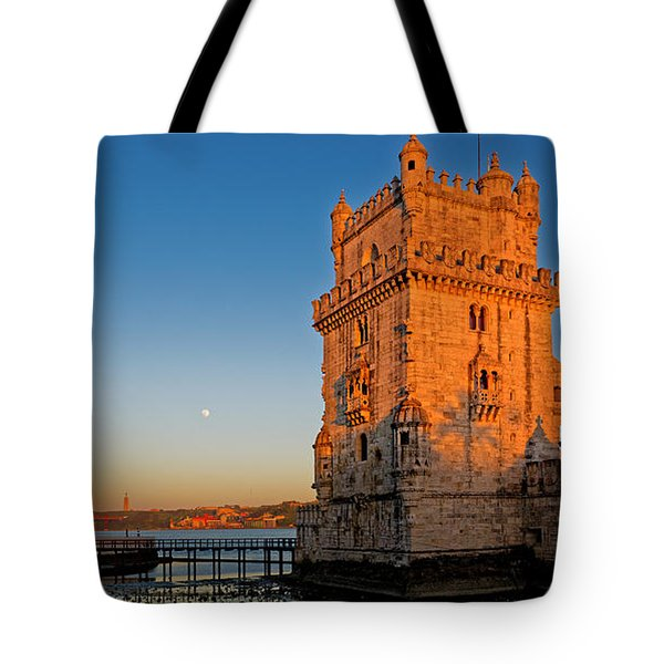 Belem Tower And The Moon Tote Bag