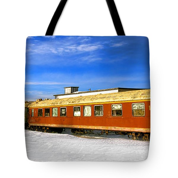 Belfast And Moosehead Railroad Cars In Winter Tote Bag