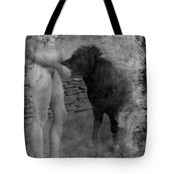 Tote Bag featuring the photograph Belfast Nude With Mininature  by Jennifer Wright