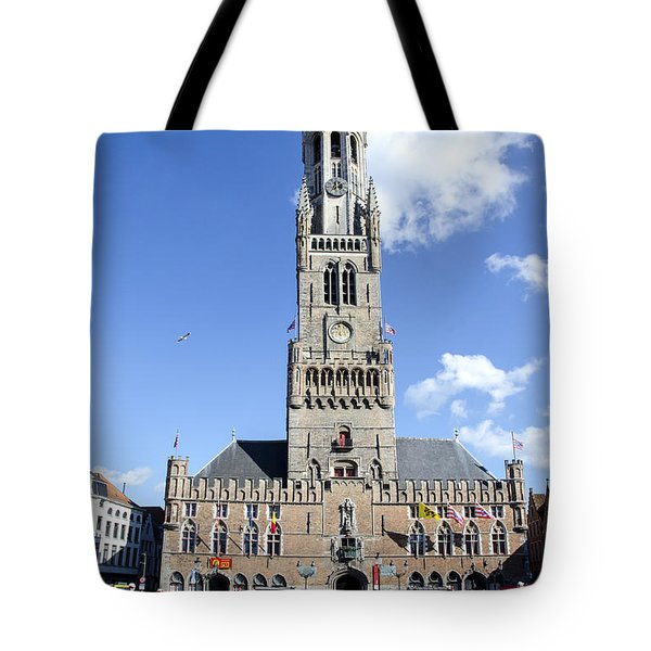 Tote Bag featuring the photograph Belfry Of Bruges by Pravine Chester