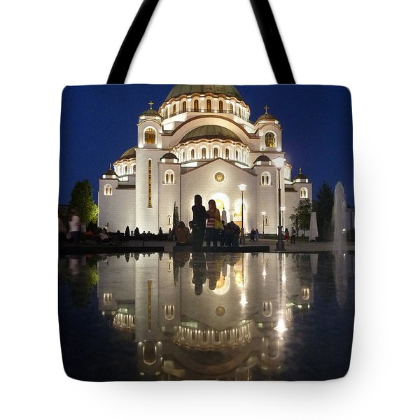 Tote Bag featuring the photograph Belgrade Serbia Orthodox Cathedral Of Saint Sava  by Danica Radman