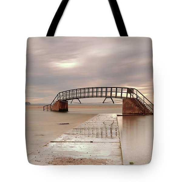 Belhaven Stairs And The Bass At Low Tide Tote Bag