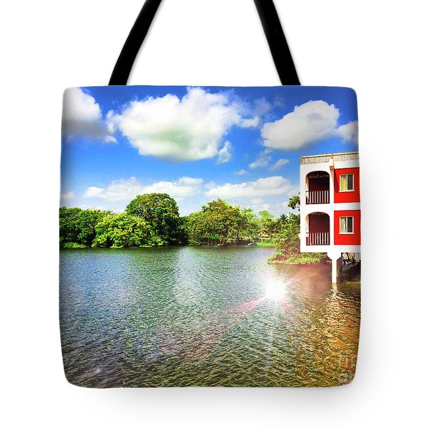 Belize River House Reflection Tote Bag