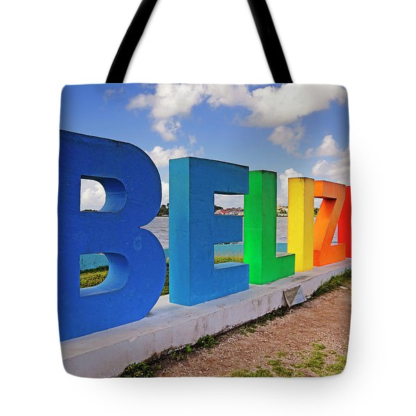 Tote Bag featuring the photograph Belize Sign Dedicated To Lena Quinto - Fort George, Belize - Caribbean by Jason Politte