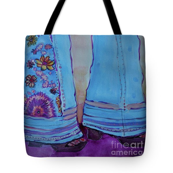 Tote Bag featuring the painting Bell Bottoms by Jacqueline Athmann