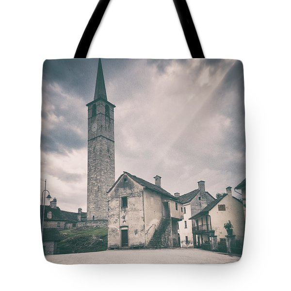 Tote Bag featuring the photograph Bell Tower In Italian Village by Silvia Ganora