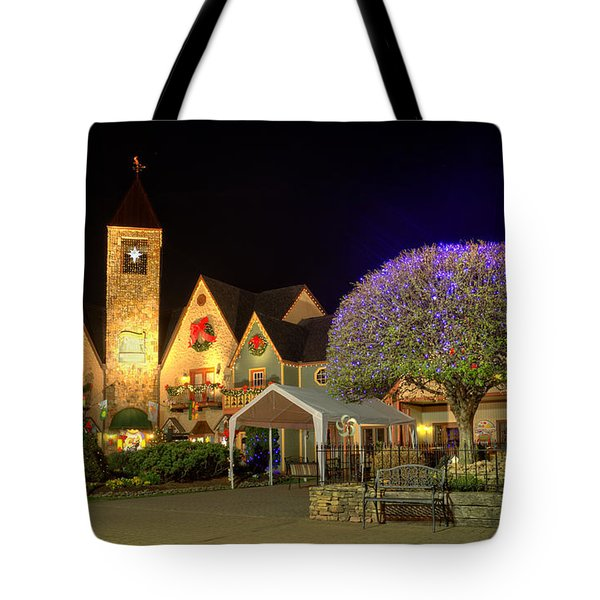 Bell Tower Square Christmas Tote Bag