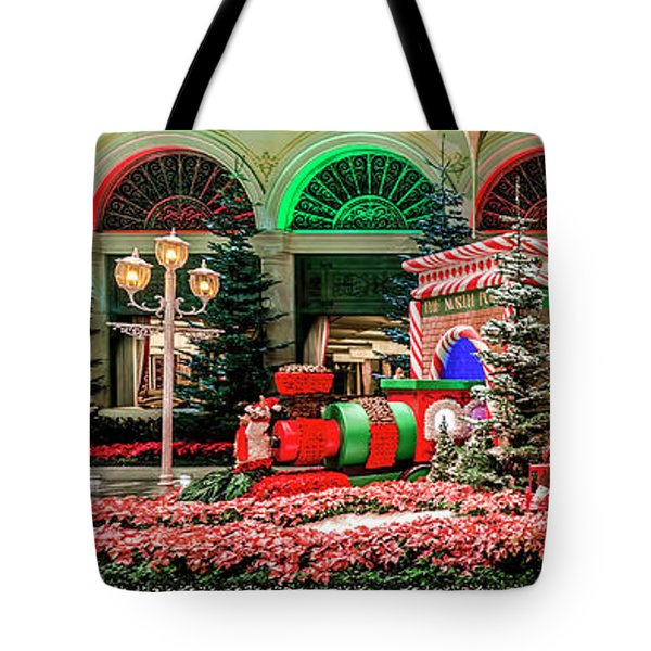 Bellagio Christmas Train Decorations Panorama 2017 Tote Bag