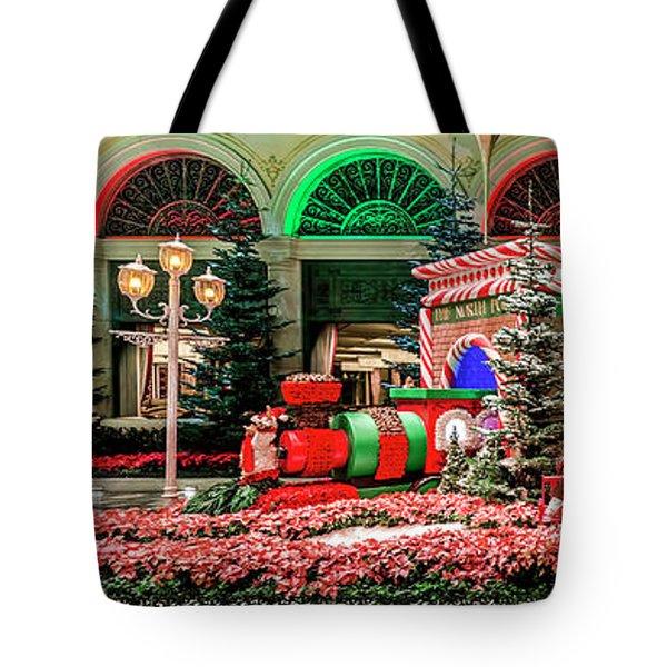 Bellagio Christmas Train Decorations Panorama 2017 Tote Bag