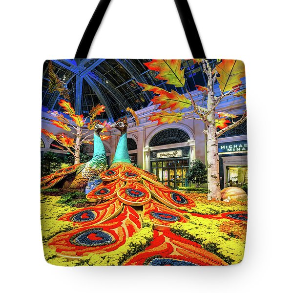 Bellagio Conservatory Fall Peacock Display Side View  Tote Bag