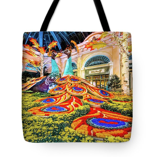Bellagio Conservatory Fall Peacock Display Side View Wide 2017 Tote Bag
