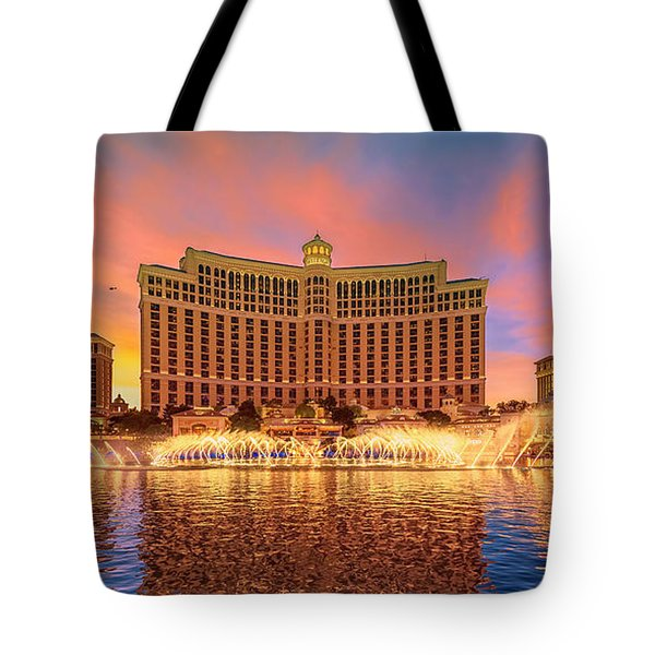 Bellagio Fountains Warm Sunset 2 To 1 Ratio Tote Bag