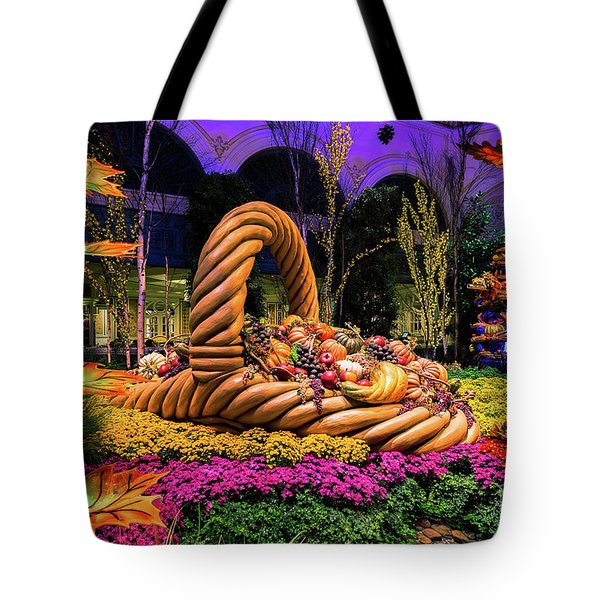 Bellagio Harvest Show Basket And Scarecrow 2016 Tote Bag by Aloha Art