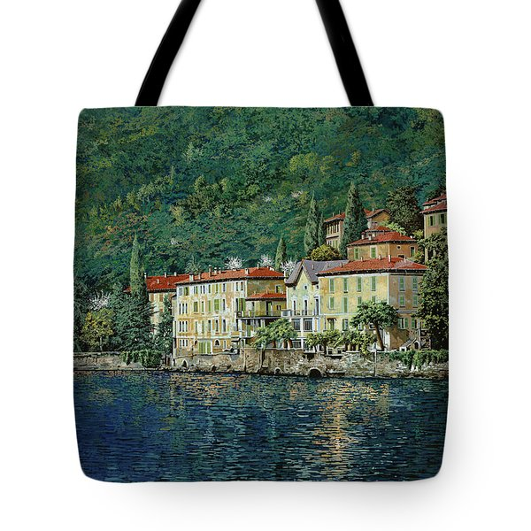 Tote Bag featuring the painting Bellano On Lake Como by Guido Borelli