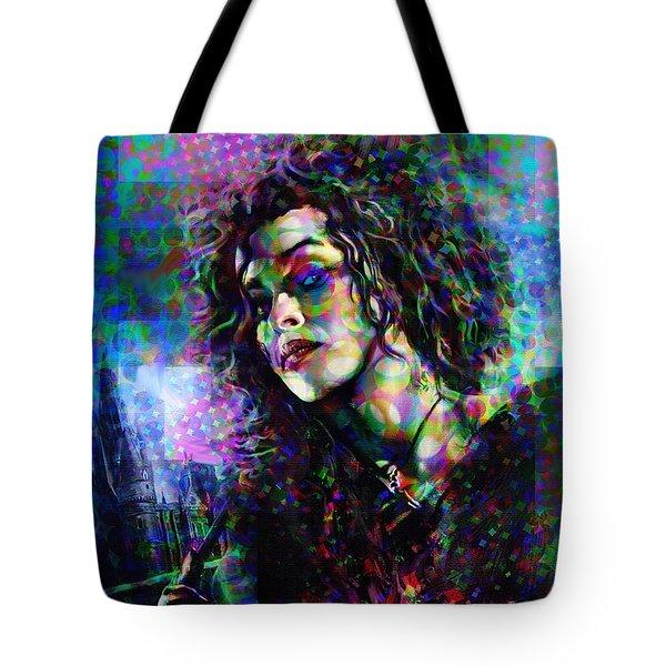 Bellatrix Lestrange Halftone Portrait Tote Bag