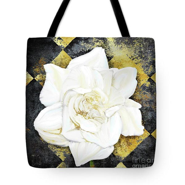 Belle, White Gardenia Blooms Amidst French Art Deco Grunge Tote Bag