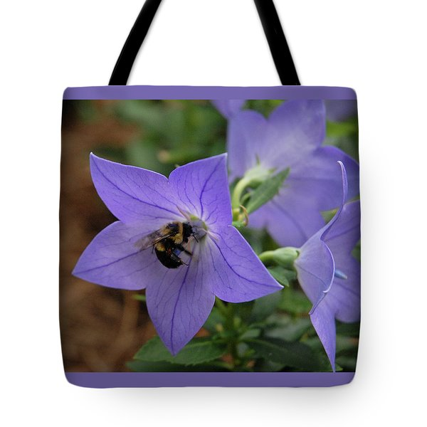 Tote Bag featuring the photograph Bellflower And Bee  by Marie Hicks
