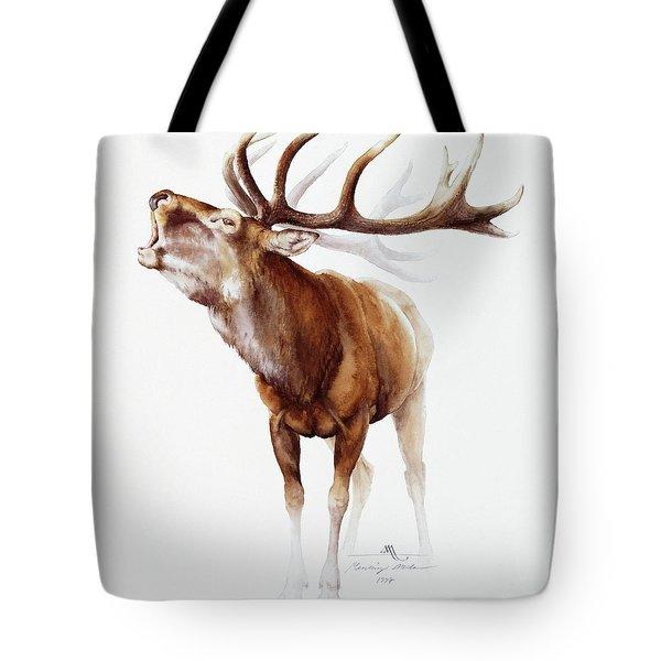 Belling Stag Watercolor Tote Bag