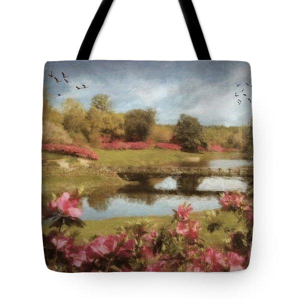 Tote Bag featuring the digital art Bellingrath Gardens by Lianne Schneider