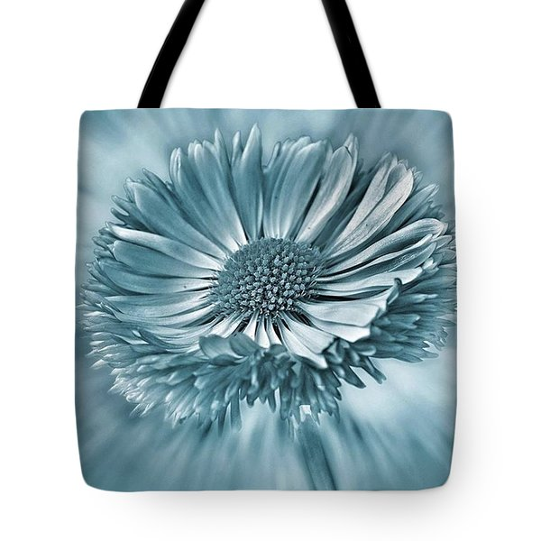 Bellis In Cyan  #flower #flowers Tote Bag by John Edwards
