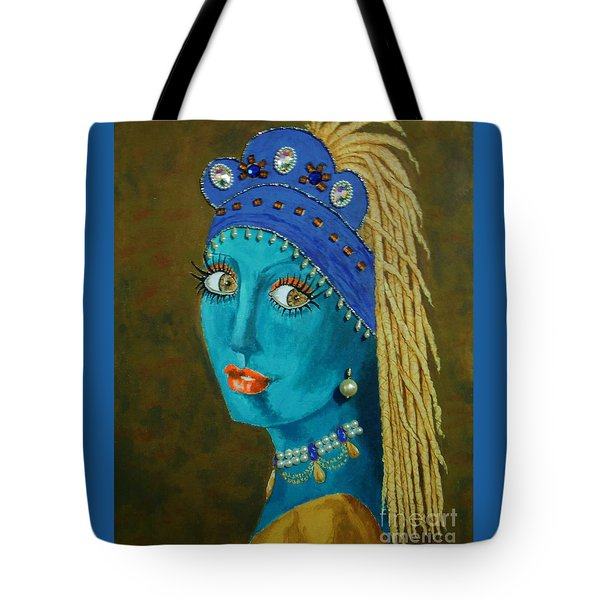 Belly Dancer With A Pearl Earring -- The Original -- Whimsical Redo Of Vermeer Painting Tote Bag