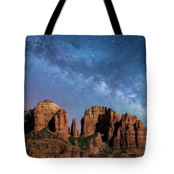 Below The Milky Way At Cathedral Rock Tote Bag