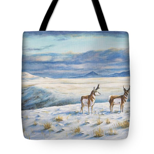 Tote Bag featuring the painting Belt Butte Winter by Kim Lockman