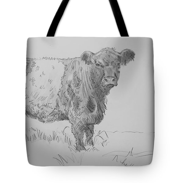 Belted Galloway Cow Pencil Drawing Tote Bag