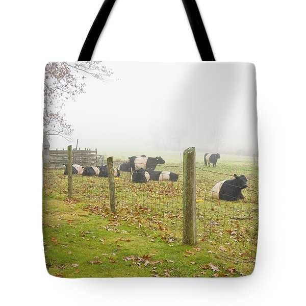 Belted Galloway Cows Farm Rockport Maine Photograph Tote Bag