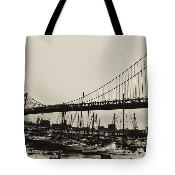 Ben Franklin Bridge From The Marina In Black And White. Tote Bag by Bill Cannon