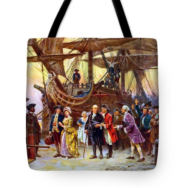 Ben Franklin Returns To Philadelphia Tote Bag
