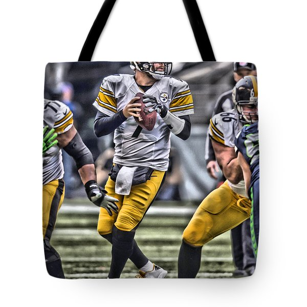Ben Roethlisberger Pittsburgh Steelers Art Tote Bag by Joe Hamilton