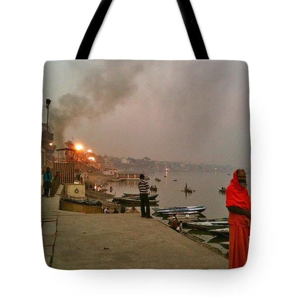 Benares Ganges River At Dusk Tote Bag by Matt Mather