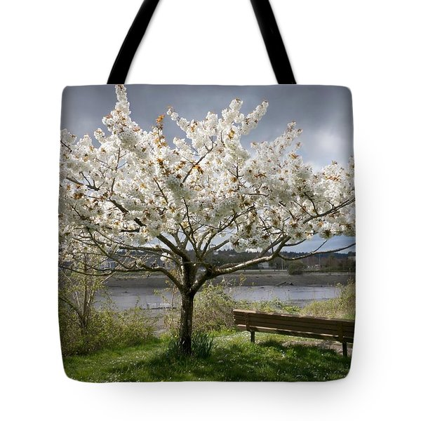 Bench And Blossoms Tote Bag