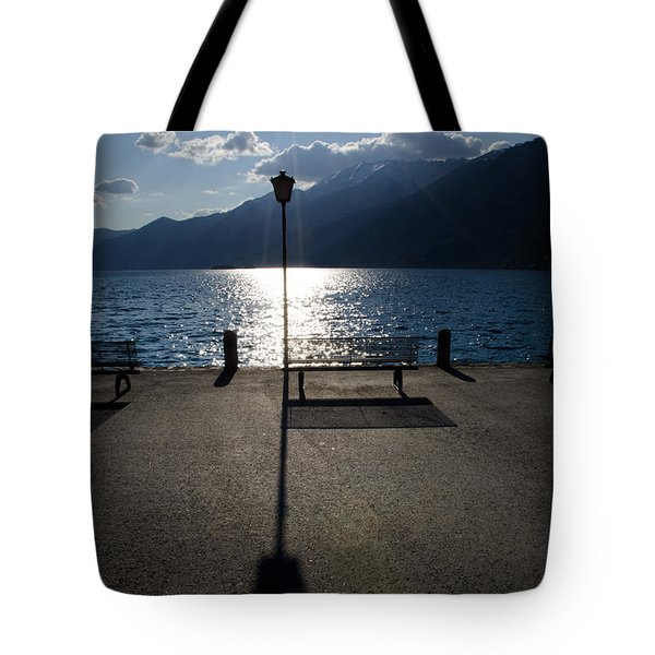 Bench And Street Lamp Tote Bag