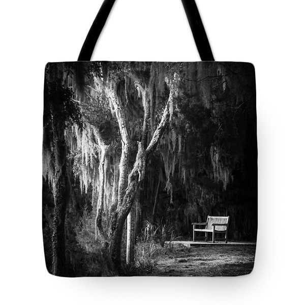 Bench At Sunset In Black And White Tote Bag