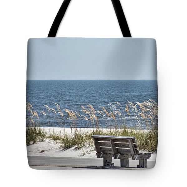 Bench At The Beach Tote Bag