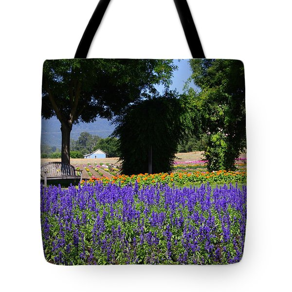 Bench In Flowers Tote Bag