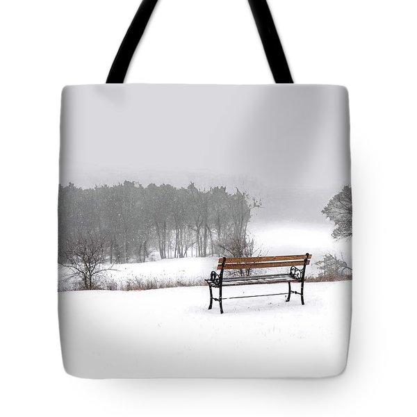 Bench In Snow Tote Bag