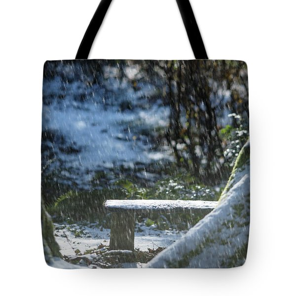 Tote Bag featuring the photograph Bench In Snow by Rebecca Cozart