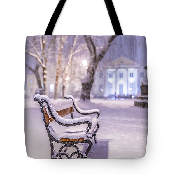 Bench Tote Bag by Jaroslaw Grudzinski