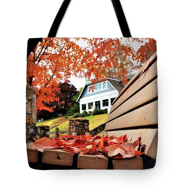 Bench Leaves Tote Bag