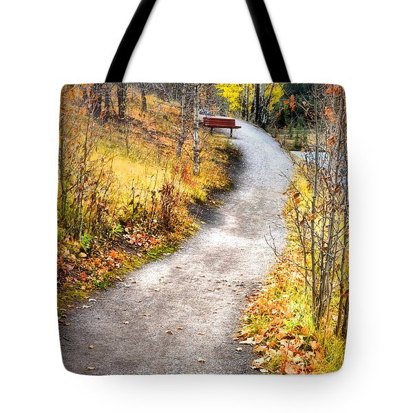 Bench On A Hill Tote Bag by Tara Turner