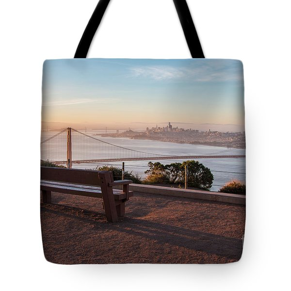 Bench Overlooking Downtown San Francisco And The Golden Gate Bri Tote Bag